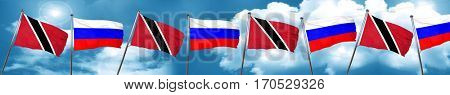 Trinidad and tobago flag with Russia flag, 3D rendering
