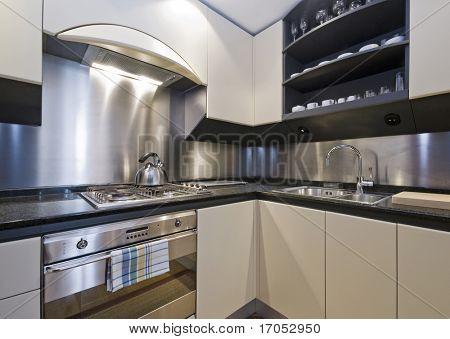 modern luxury domestic kitchen with granite worktop