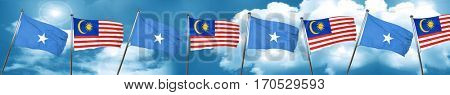 Somalia flag with Malaysia flag, 3D rendering