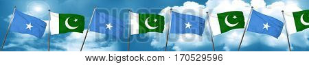 Somalia flag with Pakistan flag, 3D rendering