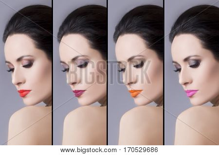 Four Different Make Up Applies On The Same Model