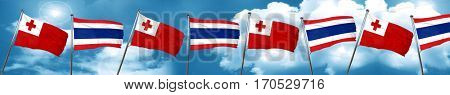 Tonga flag with Thailand flag, 3D rendering