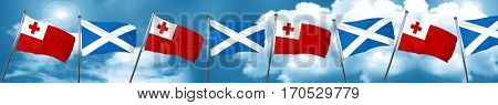 Tonga flag with Scotland flag, 3D rendering