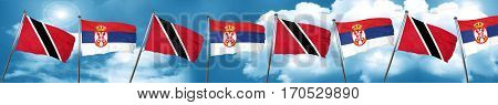 Trinidad and tobago flag with Serbia flag, 3D rendering