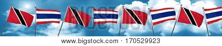 Trinidad and tobago flag with Thailand flag, 3D rendering