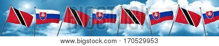 Trinidad and tobago flag with Slovakia flag, 3D rendering