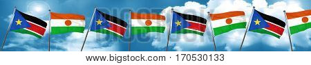 south sudan flag with Niger flag, 3D rendering