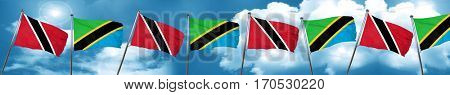 Trinidad and tobago flag with Tanzania flag, 3D rendering