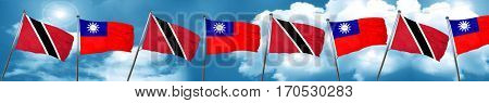 Trinidad and tobago flag with Taiwan flag, 3D rendering