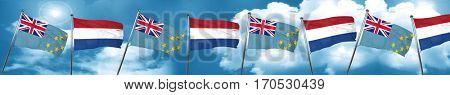 Tuvalu flag with Netherlands flag, 3D rendering