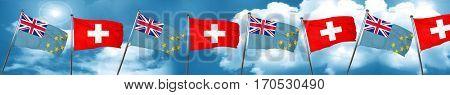 Tuvalu flag with Switzerland flag, 3D rendering