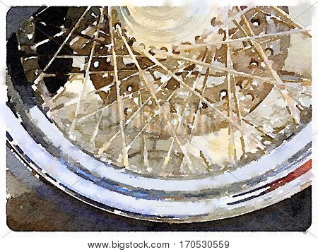 Digital watercolor close up of a motorcycle tyre showing spokes and rubber with space for text.