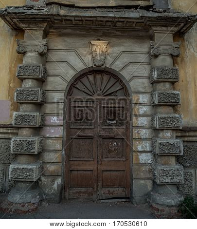 Old style Old style vintage wooden door of ancient mansion is closed of ancient mansion is closed