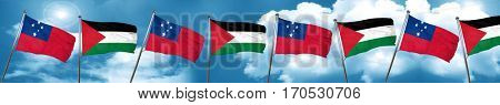 Samoa flag with Palestine flag, 3D rendering