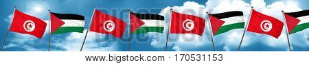 Tunesia flag with Palestine flag, 3D rendering
