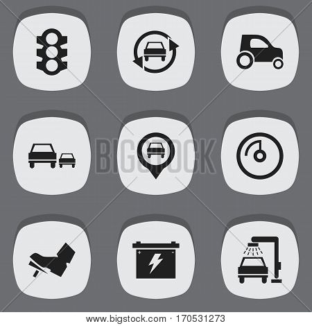 Set Of 9 Editable Vehicle Icons. Includes Symbols Such As Battery, Stoplight, Race And More. Can Be Used For Web, Mobile, UI And Infographic Design.