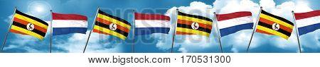 Uganda flag with Netherlands flag, 3D rendering