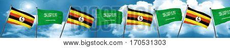 Uganda flag with Saudi Arabia flag, 3D rendering