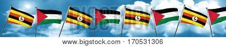 Uganda flag with Palestine flag, 3D rendering