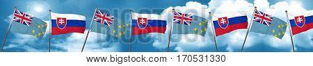 Tuvalu flag with Slovakia flag, 3D rendering