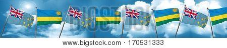 Tuvalu flag with rwanda flag, 3D rendering