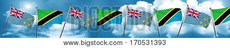 Tuvalu flag with Tanzania flag, 3D rendering