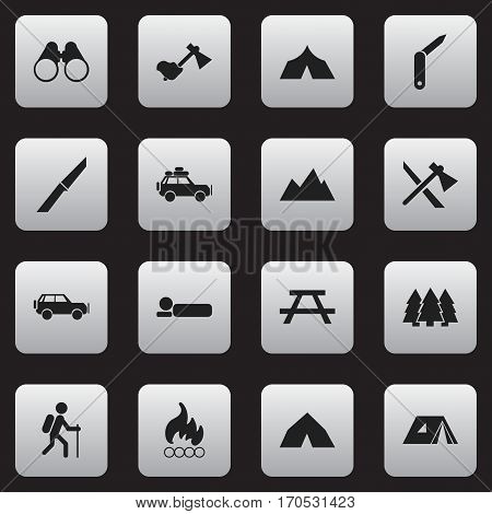 Set Of 16 Editable Camping Icons. Includes Symbols Such As Sport Vehicle, Bedroll, Knife And More. Can Be Used For Web, Mobile, UI And Infographic Design.