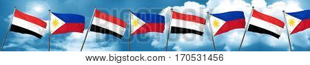 Yemen flag with Philippines flag, 3D rendering