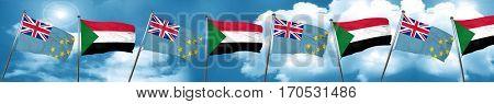 Tuvalu flag with Sudan flag, 3D rendering