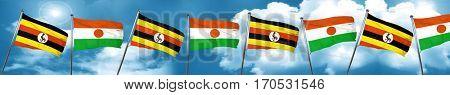 Uganda flag with Niger flag, 3D rendering