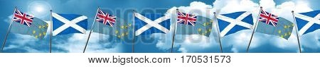 Tuvalu flag with Scotland flag, 3D rendering
