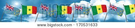 Tuvalu flag with Senegal flag, 3D rendering
