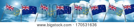 Tuvalu flag with New Zealand flag, 3D rendering