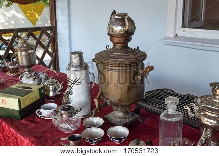 Russian Somovar. The Device For Making Tea In The Autonomous Con