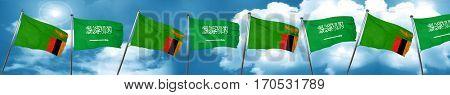 Zambia flag with Saudi Arabia flag, 3D rendering