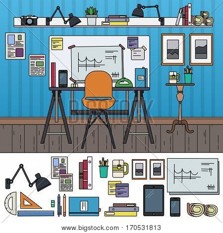 Architect working place. Architect equipment in the room. Art and constructing concept. Gadgets, pencils, triangles isolated on white background. Thin line flat design