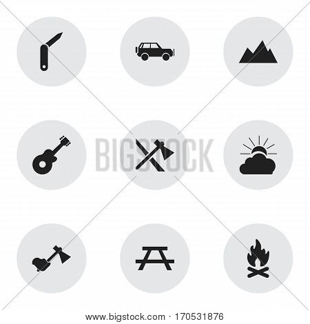 Set Of 9 Editable Travel Icons. Includes Symbols Such As Ax, Desk, Clasp-Knife And More. Can Be Used For Web, Mobile, UI And Infographic Design.