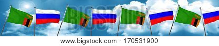 Zambia flag with Russia flag, 3D rendering