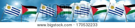 Uruguay flag with Palestine flag, 3D rendering