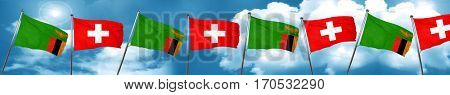 Zambia flag with Switzerland flag, 3D rendering