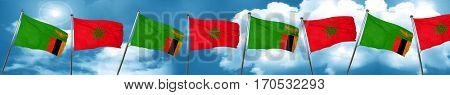 Zambia flag with Morocco flag, 3D rendering