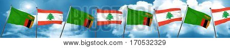 Zambia flag with Lebanon flag, 3D rendering