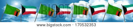 Zambia flag with Kuwait flag, 3D rendering