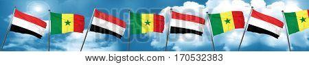 Yemen flag with Senegal flag, 3D rendering