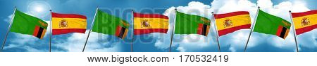 Zambia flag with Spain flag, 3D rendering