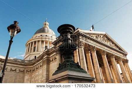 The Pantheon is a secular mausoleum containing the remains of distinguished French citizens.Located in the 5th arrondissement on the Mountain of Saint Genevieve it looks out over all of Paris.
