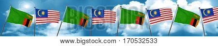 Zambia flag with Malaysia flag, 3D rendering