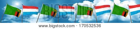 Zambia flag with Luxembourg flag, 3D rendering