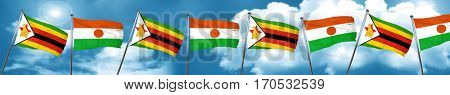 Zimbabwe flag with Niger flag, 3D rendering