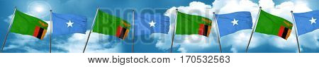 Zambia flag with Somalia flag, 3D rendering